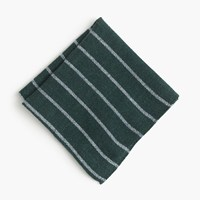 J.Crew English Wool Silk Pocket Square In Stripe Forest