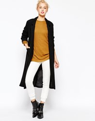 Monki Double Breasted Long Line Coat Black