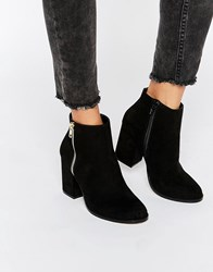 Faith Belinda Zip Heeled Ankle Boots Black Mf
