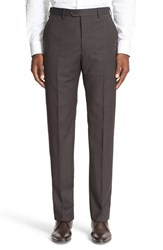 Armani Collezioni Men's Flat Front Check Wool Trousers Brown