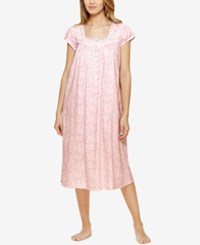 Eileen West Lace Trimmed Ballet Length Nightgown Pink Floral