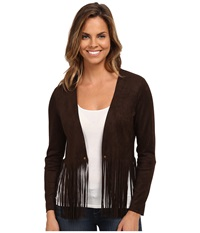 Karen Kane Faux Suede Fringe Jacket Brown Women's Coat