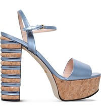 Gucci Claudie 85 Metallic Leather Platform Sandals Turquoise