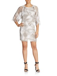 Halston Printed Kimono Sleeve Dress White Mist