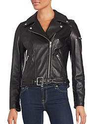 7 For All Mankind Long Sleeve Leather Jacket Black