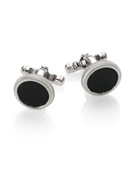 Dunhill Roller Cuff Links Onyx Silver