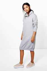 Boohoo Em Cowl Neck Long Sleeved Sweat Shirt Dress Grey Marl