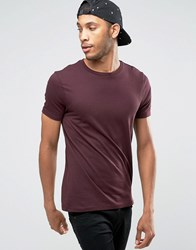Asos T Shirt With Crew Neck In Oxblood Oxblood Red