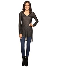 Splendid Long Sleeve V Neck Tunic Black Women's Blouse