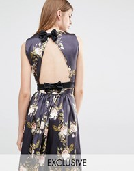 True Violet Open Back Top With Bow Black Multi Floral