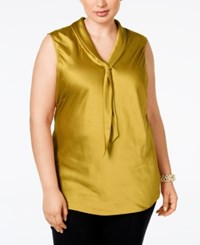 Tahari By Arthur S. Levine Asl Plus Size Sleeveless Charmeuse Tie Neck Blouse Lime Green