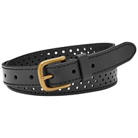 Fossil Dot Perforated Leather Belt Black