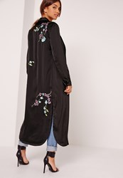 Missguided Oriental Embroidered Duster Jacket Black Black
