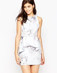 True Violet Floral Dress With Exaggerated Pep Hem Blue White