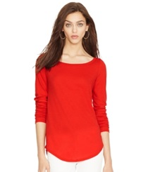 Polo Ralph Lauren Sheer Long Sleeve Slouchy Tee Red