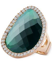 T Tahari Gold Tone Emerald Stone And Crystal Stretch Ring