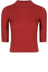 Alice And You Short Sleeve Knitted Top Red