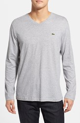 Lacoste Men's Pima Cotton V Neck T Shirt Silver Grey Chine