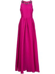 Marchesa Notte Embellished Neck Gown Pink And Purple