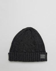 Jack And Jones Beanie In Cable Knit Grey