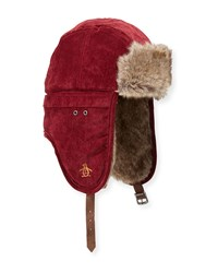Penguin Corduroy Faux Fur Trapper Hat Red