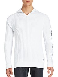 Buffalo David Bitton Ribbed Pullover Cotton Sweater White