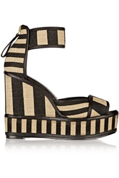 Pierre Hardy Striped Basketweave Jute And Leather Wedge Sandals
