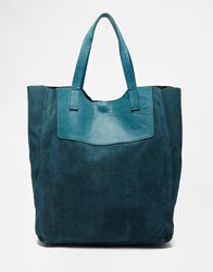 Pieces Suede Shopper Bag Blue