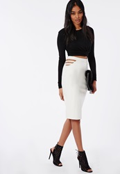 Missguided Caged Side Faux Leather Midi Skirt White White