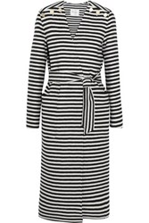 Max Mara Striped Wool And Angora Blend Coat Navy