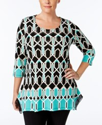 Jm Collection Plus Size Geometric Print High Low Hem Top Only At Macy's Hightail Geo Green