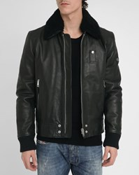 Diesel Black Maverick Leather Bomber Jacket With Sheepskin Collar