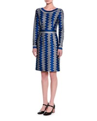 Missoni Long Sleeve Zigzag Knit Dress Blue Silver