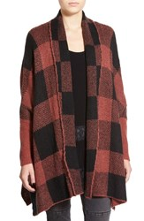 Junior Women's Sun And Shadow Buffalo Check Open Front Cardigan