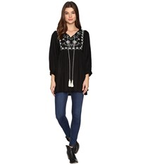 Rock And Roll Cowgirl Long Sleeve Tunic B4 9655 Black Women's Clothing