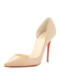 Christian Louboutin Iriza Half D'orsay Leather Red Sole Pump Nude