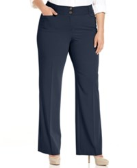 Alfani Plus Size Curvy Fit Slimming Bootcut Pants Only At Macy's Navy