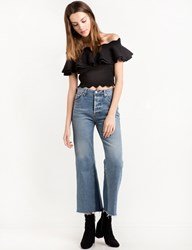 Pixie Market Black Crop Scalloped Off The Shoulder Top