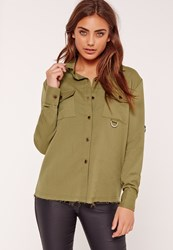 Missguided Metal Trim Pocket Front Shirt Khaki