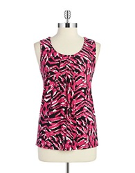 Anne Klein Patterned Pintuck Shell Fuchsia Combo