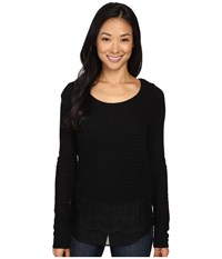 Lucky Brand Lace Mix Sweater Jet Black Women's Sweater