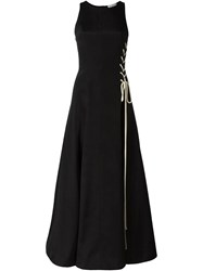 Natasha Zinko Side Lace Tie Up Evening Dress Black