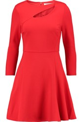 Halston Heritage Cutout Stretch Ponte Mini Dress Red
