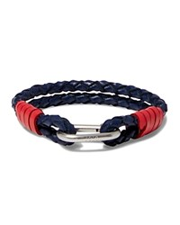 Polo Ralph Lauren Braided Leather Wrist Strap Bracelet Chat Navy
