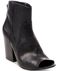 Steve Madden Women's Veronah Peep Toe Block Heel Booties Women's Shoes Black Leather