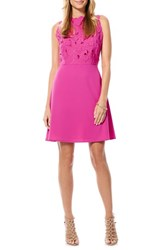 Laundry By Shelli Segal Women's Eyelet Embroidered Bodice A Line Dress Electric Pink