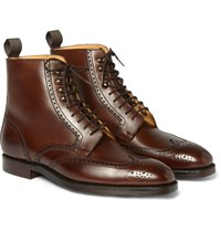 George Cleverley Bryan Leather Brogue Boots Chocolate