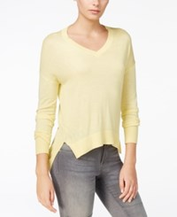 Armani Exchange High Low V Neck Sweater Buttercup