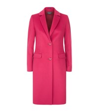 Harrods Of London Slim Fit Wool Angora Coat Female Fuchsia
