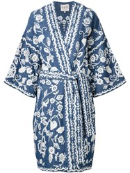 Sea Embroidered Robe Jacket Blue